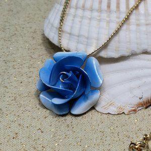 "Vintage blue enamel metal rose pendant 16"""